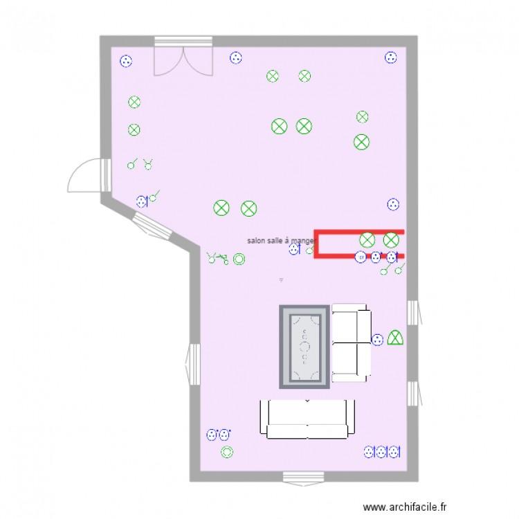 Salon salle manger plan 1 pi ce 60 m2 dessin par gisaco for Salon salle a manger 70 m2
