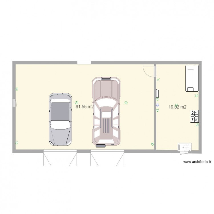 garage 2 voiture avec atelier 12 plan 2 pi ces 81 m2 dessin par steph24800. Black Bedroom Furniture Sets. Home Design Ideas