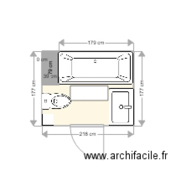Salle de bain plan 1 pi ce 4 m2 dessin par antoine44 for Salle de bain 4 m2