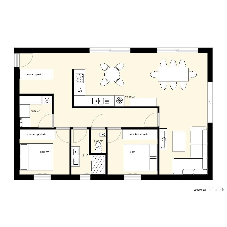 Maison charly 01 plan 6 pi ces 77 m2 dessin par lavandine26 for Dessine mes plans de maison