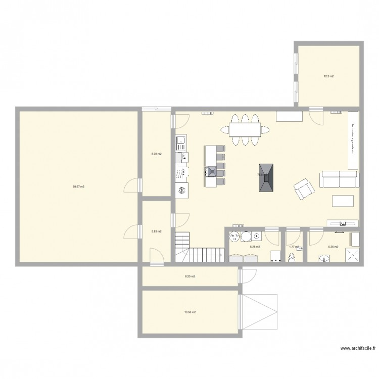 plan maison hangar