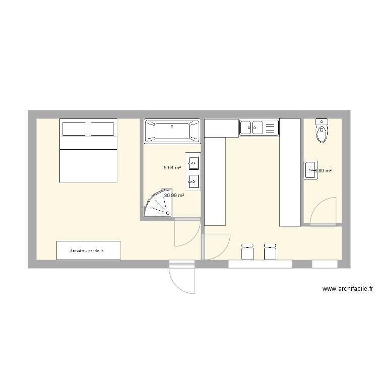 Extension Plan 3 Pieces 40 M2 Dessine Par Sam56570