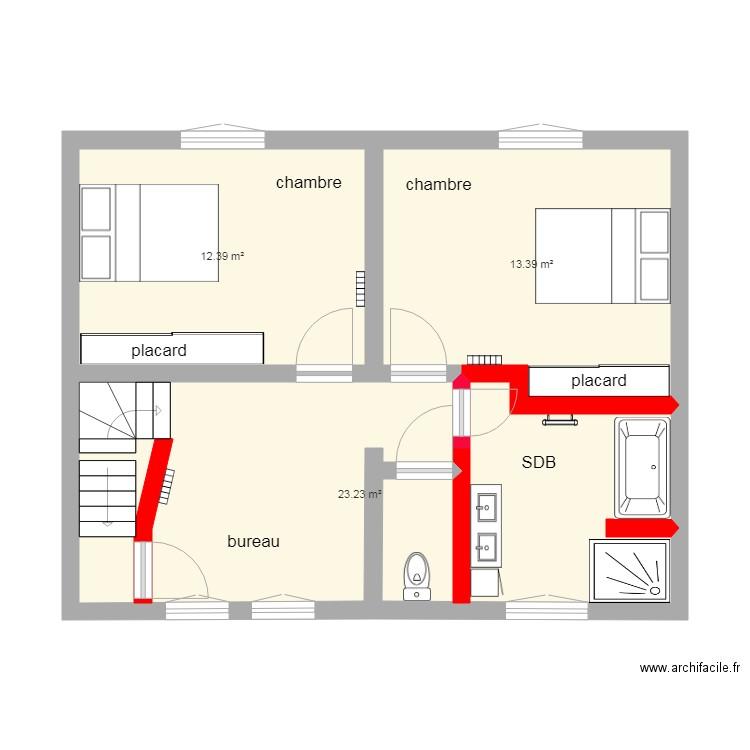 Surzur etage projet2 plan 5 pi ces 48 m2 dessin par yo56 for Piscine surzur