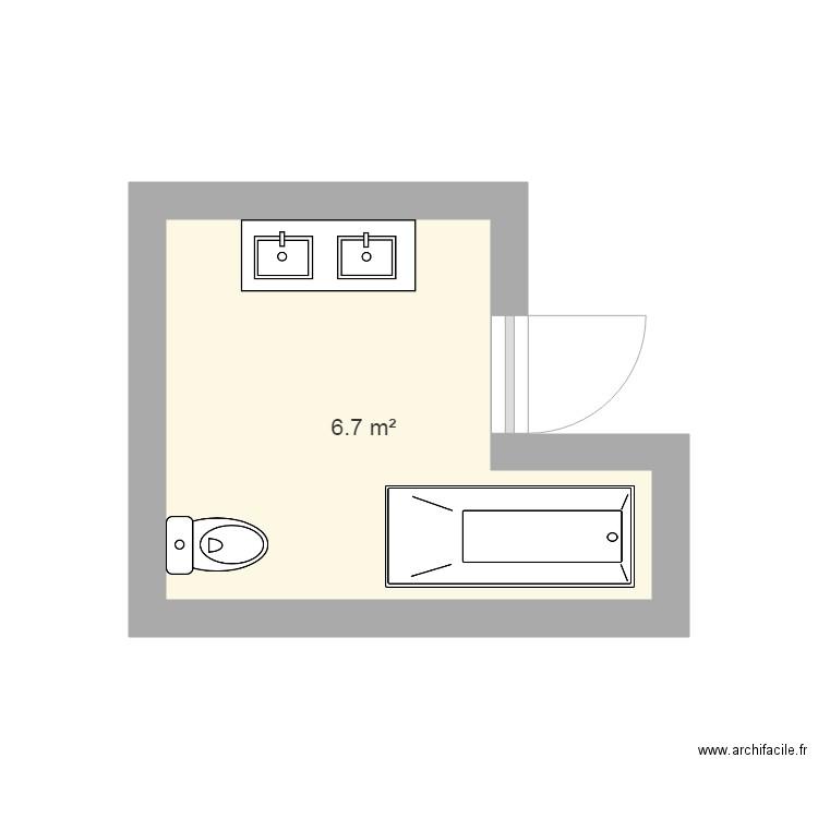 Salle de bain plan 1 pi ce 7 m2 dessin par sardanapix for Salle de bain 7 5 m2