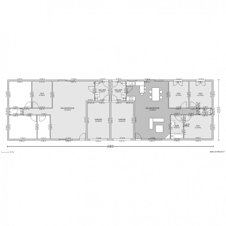 Plan de maison mitoyenne perfect faire le plan with plan - Plan de maison jumelee ...