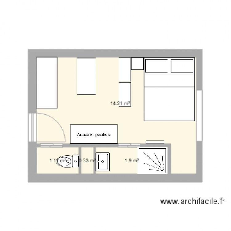 studio 15m2 plan 4 pi ces 18 m2 dessin par emili3. Black Bedroom Furniture Sets. Home Design Ideas
