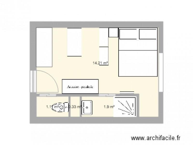 studio 15m2 - Plan 4 pièces 18 m2 dessiné par emili3