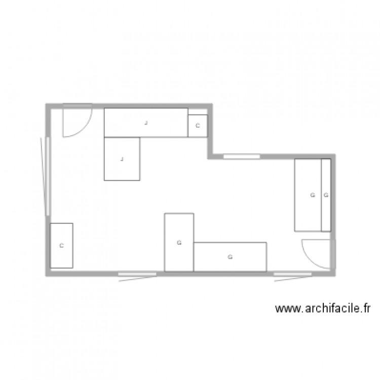 Bureau plan 1 pi ce 17 m2 dessin par jolar for Nombre de m2 par personne bureau
