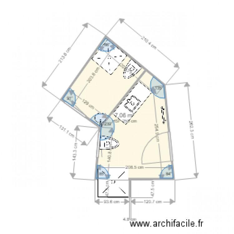 Salle de bain 3 plan 1 pi ce 7 m2 dessin par pmore for Salle de bain 7 5 m2