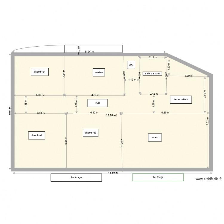 Maison alg rie 1er tage 6 plan 1 pi ce 129 m2 dessin for Plan maison algerie