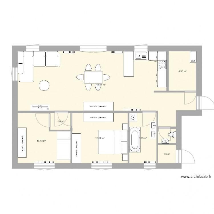 Test avec salle de bain plan 7 pi ces 81 m2 dessin par - Construire un plan de travail ...