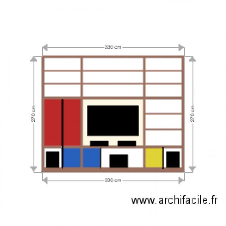 Meuble tv plan 21 pi ces 8 m2 dessin par riolac - Meuble tv grande taille ...