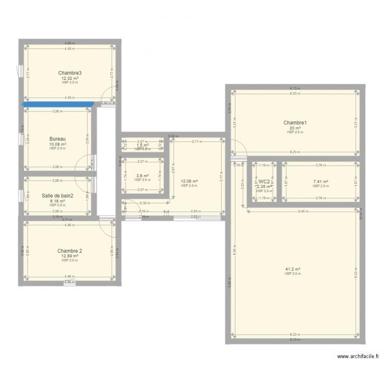 maison h plan 11 pi ces 130 m2 dessin par wocorp. Black Bedroom Furniture Sets. Home Design Ideas
