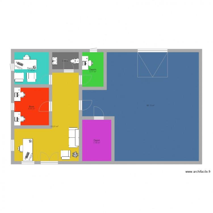 Buroteq plan 7 pi ces 120 m2 dessin par brwa - Plan appartement 120 m2 ...