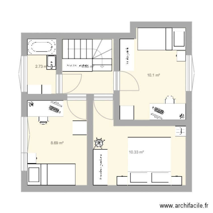 etage maison plan 5 pi ces 37 m2 dessin par ameliedelbe. Black Bedroom Furniture Sets. Home Design Ideas