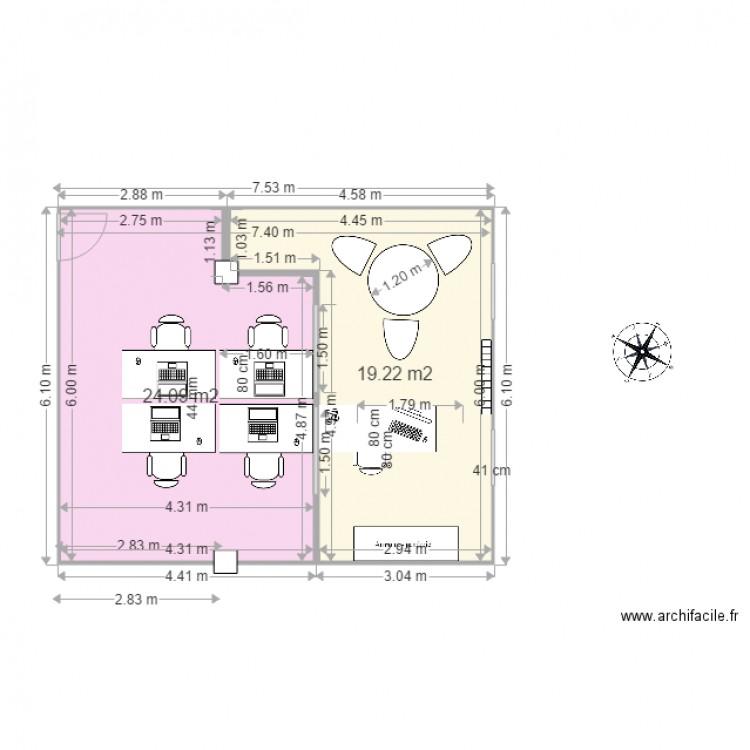 Bureau 3d creation plan 2 pi ces 43 m2 dessin par pilou del for Creation plan 3d
