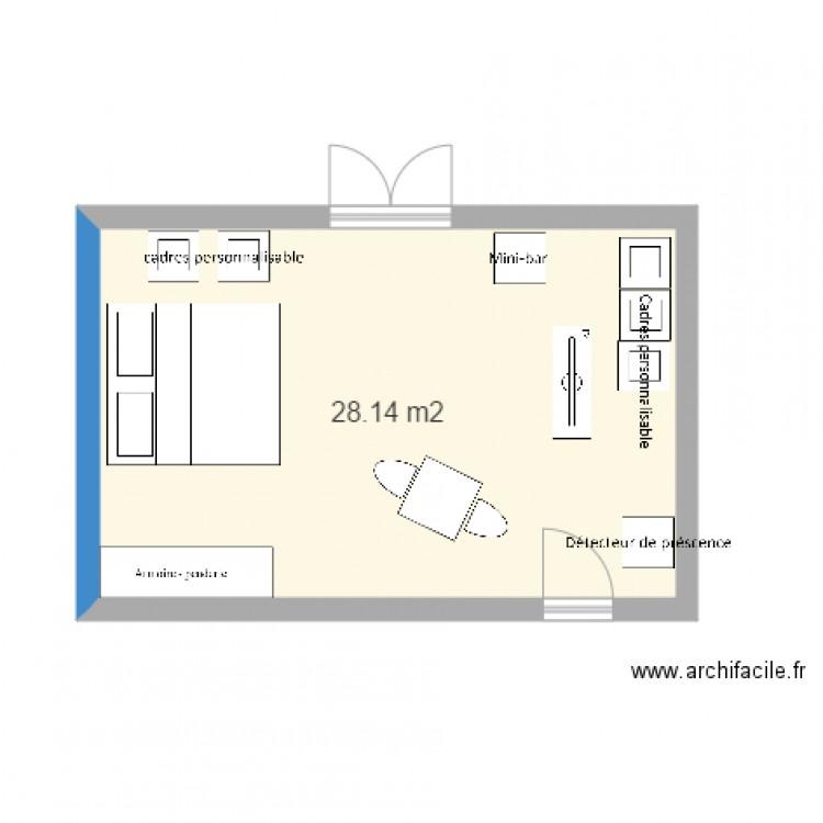 Plan chambre type high technologie - Plan 10 pièce 10 m10 dessiné