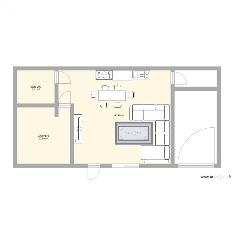 maison bouc bel air plan 3 pi ces 60 m2 dessin par lesbastidesdugolfe. Black Bedroom Furniture Sets. Home Design Ideas