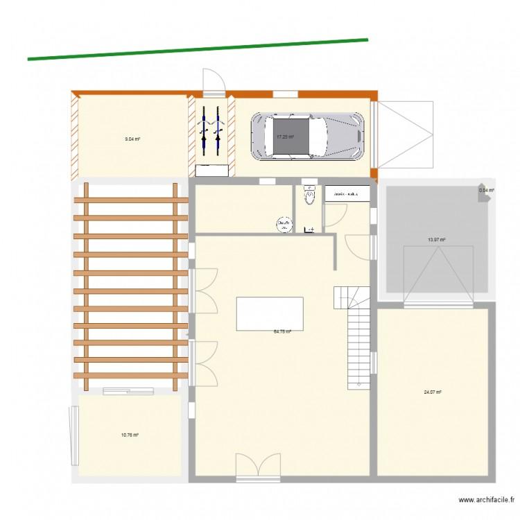 Bureau et nouveau garage plan 7 pi ces 140 m2 dessin for Nombre de m2 par personne bureau