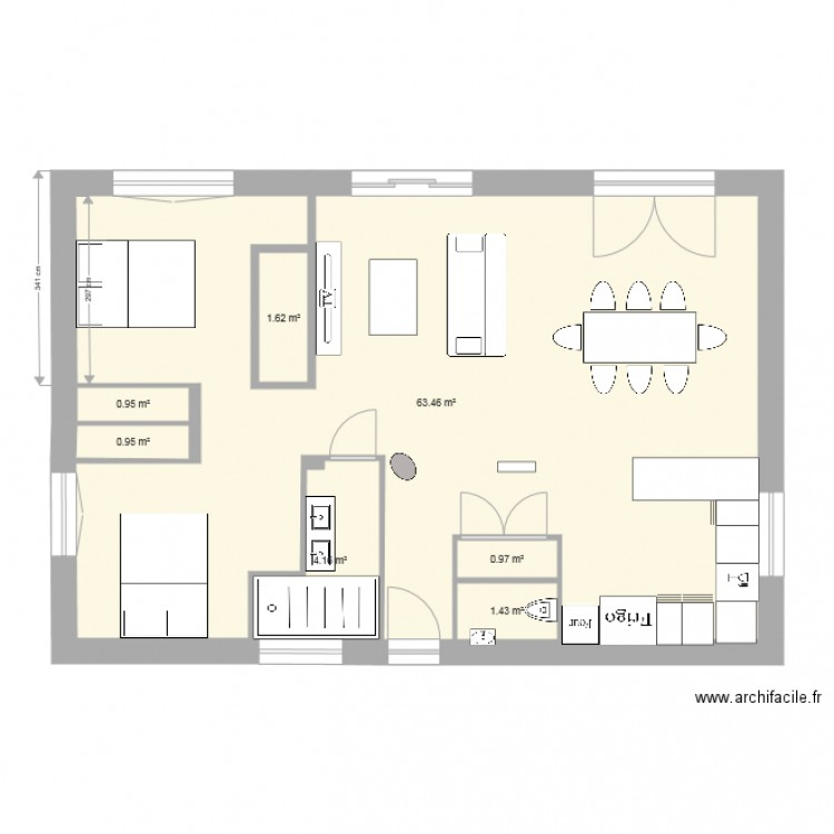 maison sillans vide plan 7 pi ces 74 m2 dessin par laurence et dominique. Black Bedroom Furniture Sets. Home Design Ideas