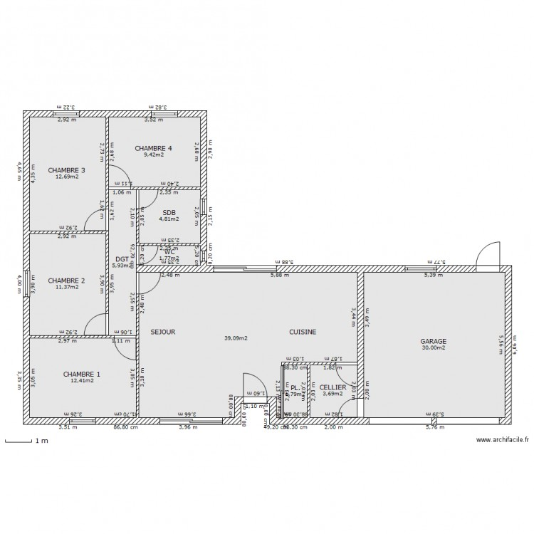 projet maison plain pied plan 11 pi ces 133 m2 dessin par cayotte60. Black Bedroom Furniture Sets. Home Design Ideas
