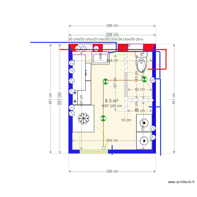 PIECE 5 matrice ALTERNATIVE WC PMR. Plan de 1 pièce et 8 m2