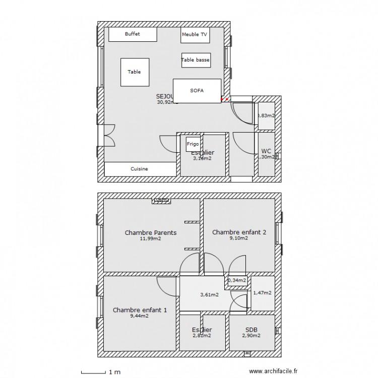 Notre petite maison plan 13 pi ces 78 m2 dessin par foxnet for Taille moyenne maison