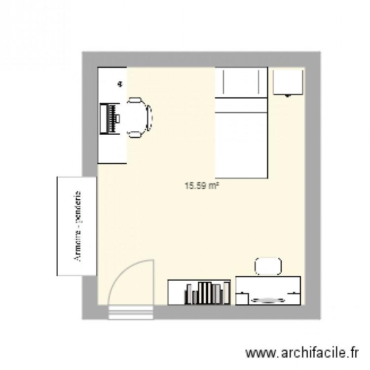 Chambre lou plan 1 pi ce 16 m2 dessin par loupau56 for Chambre one piece