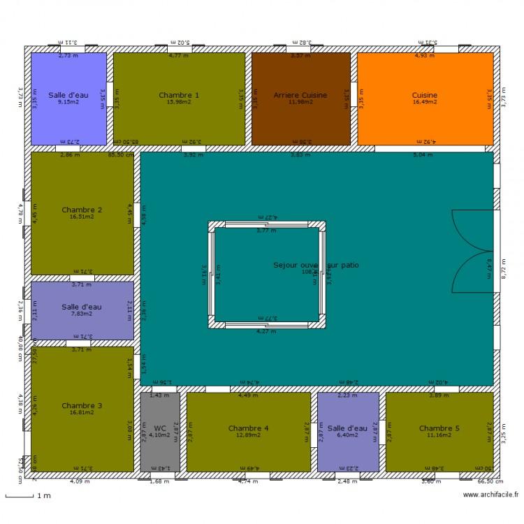 Maison plein pied avec patio plan 13 pi ces 250 m2 for Dessiner plan patio