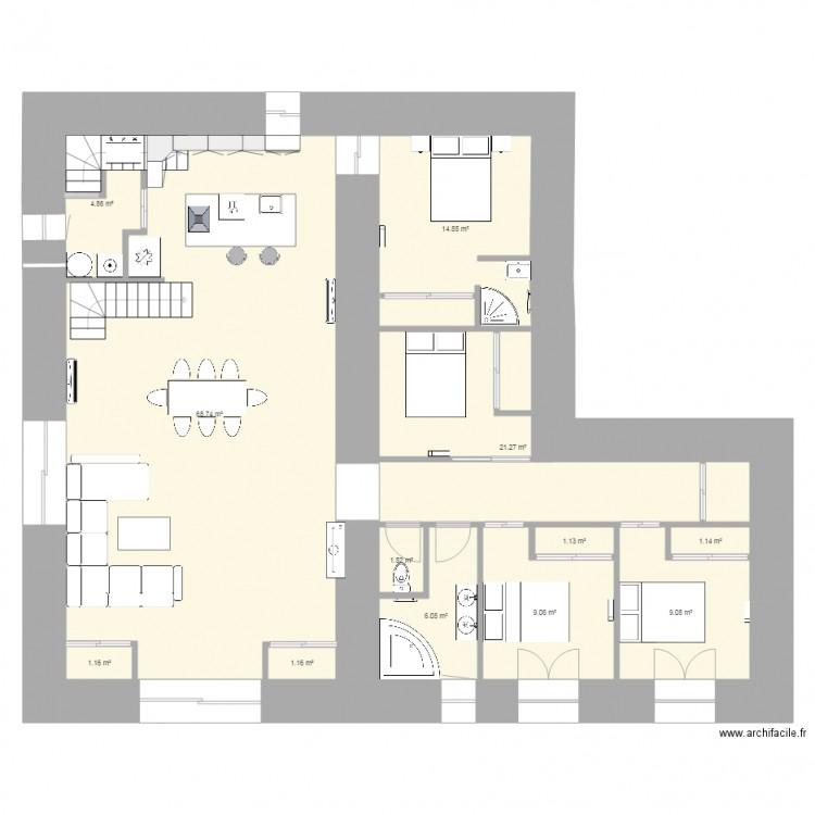 Maison plan 12 pi ces 140 m2 dessin par grizzly79 for Plan maison 140m2