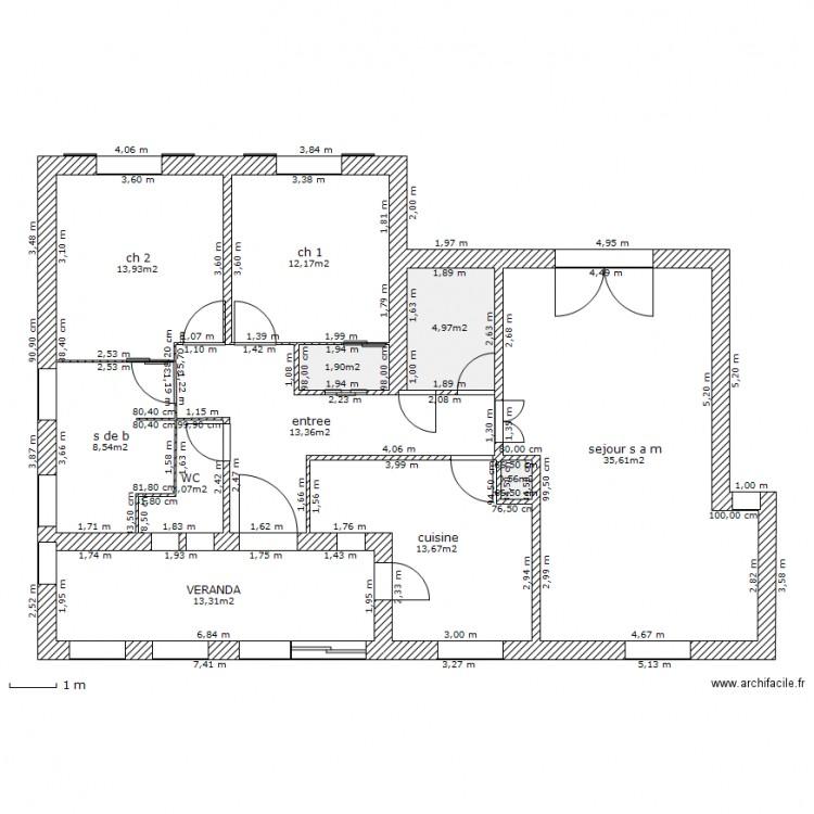 Ch feng shui 6 plan 11 pi ces 121 m2 dessin par bambin for Plan maison ideale feng shui