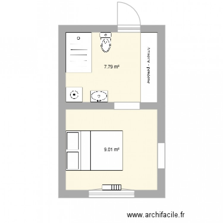 Suite parentale 17m2 alice plan 2 pi ces 17 m2 dessin for Plan de suite parentale