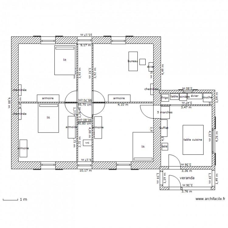 maison plan 2 pi ces 75 m2 dessin par lionelsun1. Black Bedroom Furniture Sets. Home Design Ideas