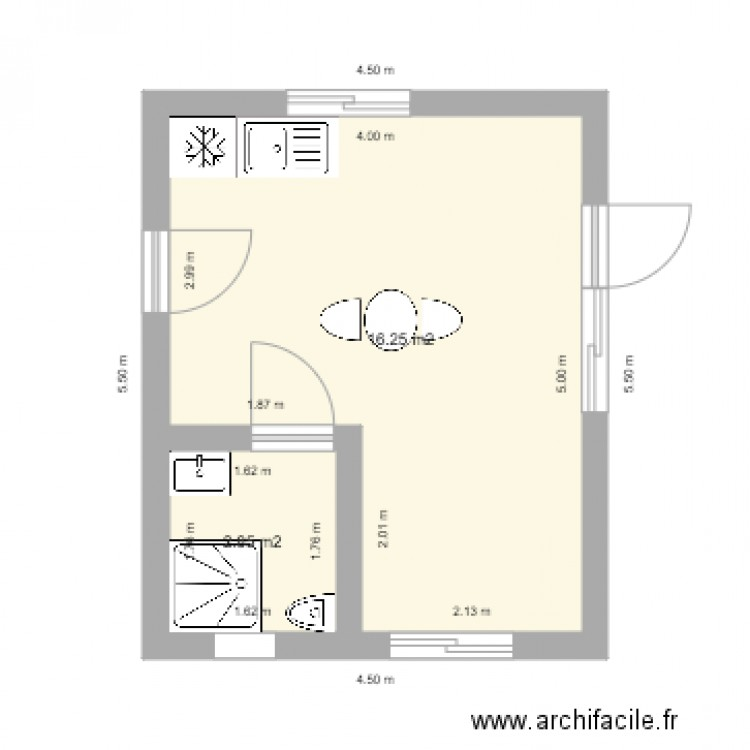 20m2 f2 plan 2 pi ces 19 m2 dessin par sullivand. Black Bedroom Furniture Sets. Home Design Ideas