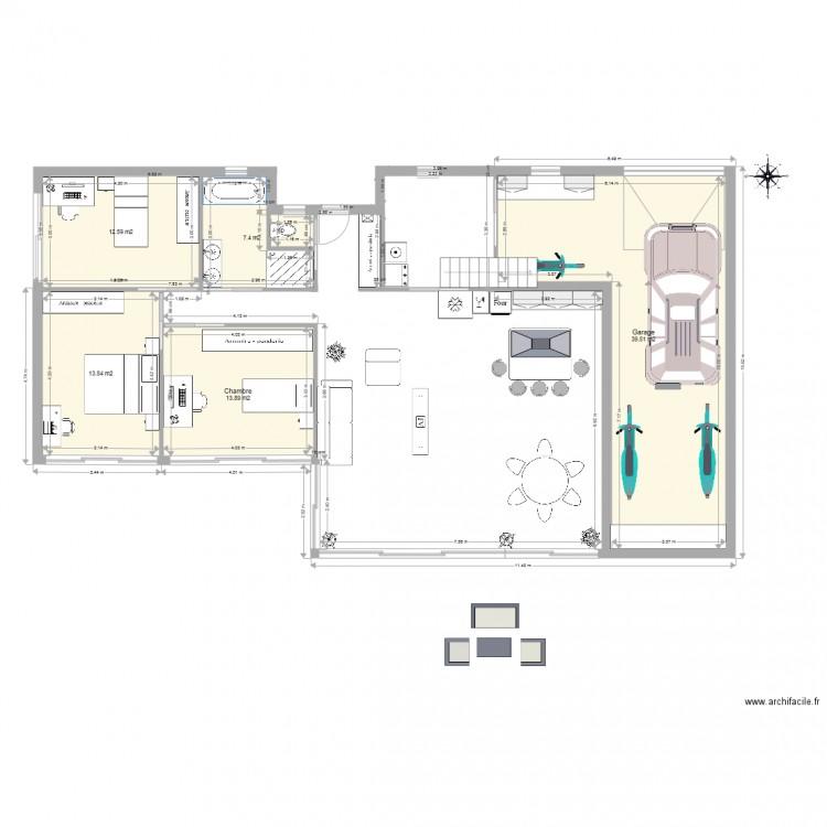 Projet maison bretagne avec tage au dessus garage plan for Plan maison bretagne