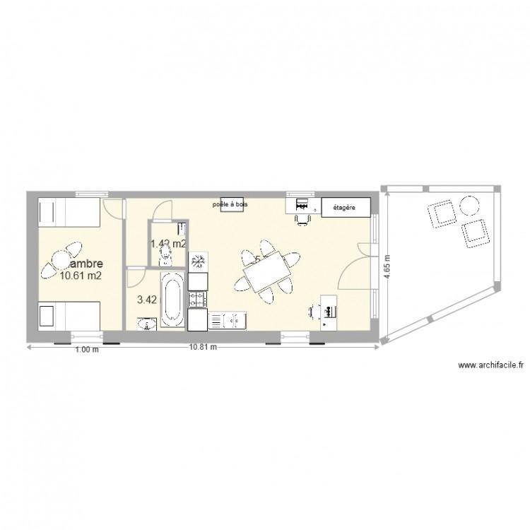 Maison arik extension plan 4 pi ces 41 m2 dessin par kob09 for Plan extension maison 40m2