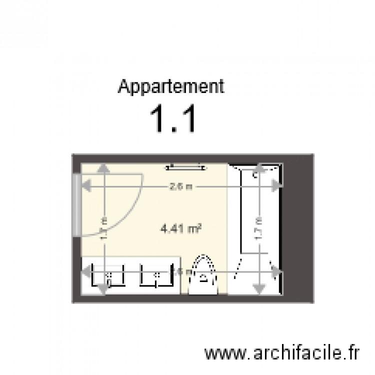 1 1 Salle De Bain Plan 1 Pi Ce 4 M2 Dessin Par Th2c