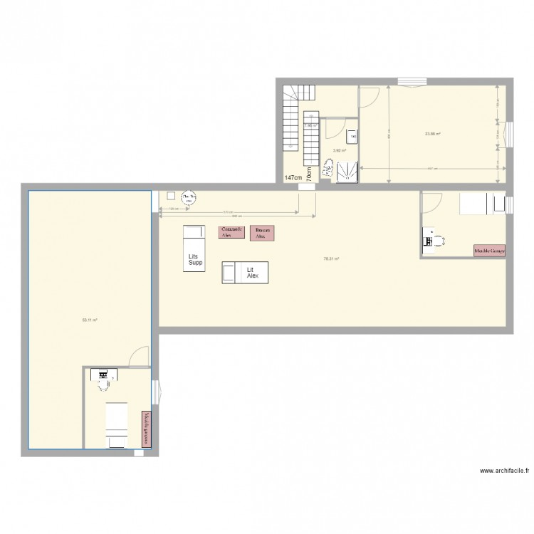 Ballats mobilier plan 19 pi ces 501 m2 dessin par jlava for 501 plan