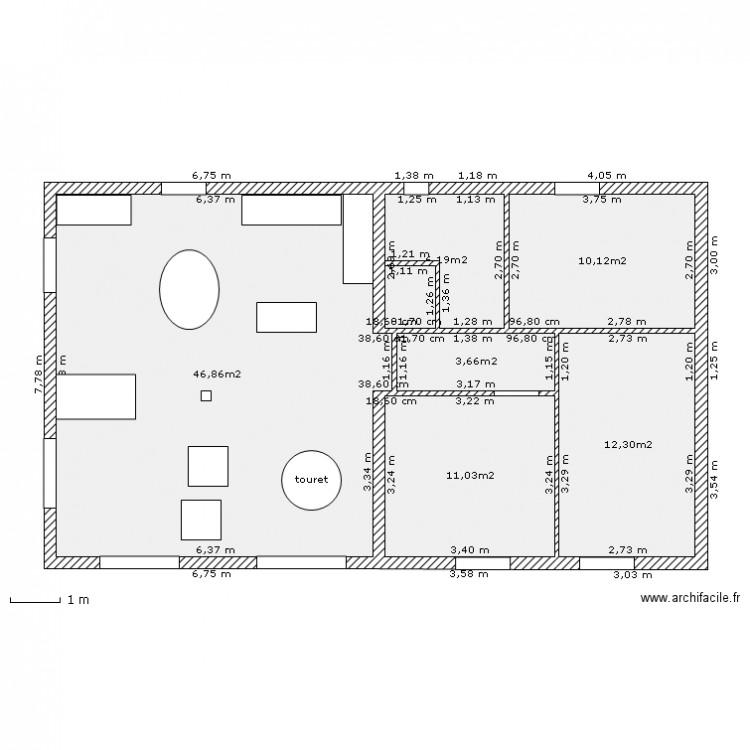 Plain pied grange 3 plan 6 pi ces 90 m2 dessin par for Plan maison plain pied 90m2