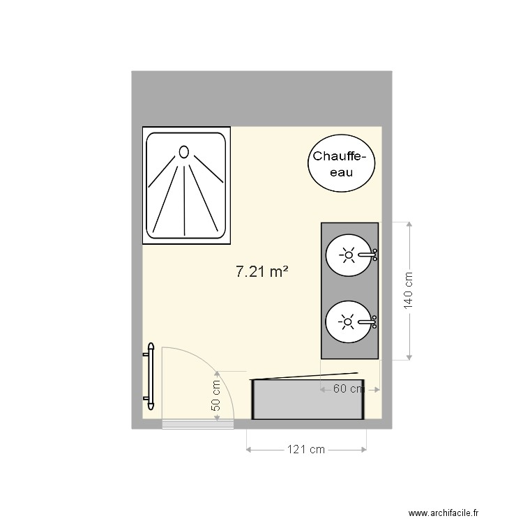 Salle de bain plan 1 pi ce 7 m2 dessin par popil - Salle de bain 7 m2 ...
