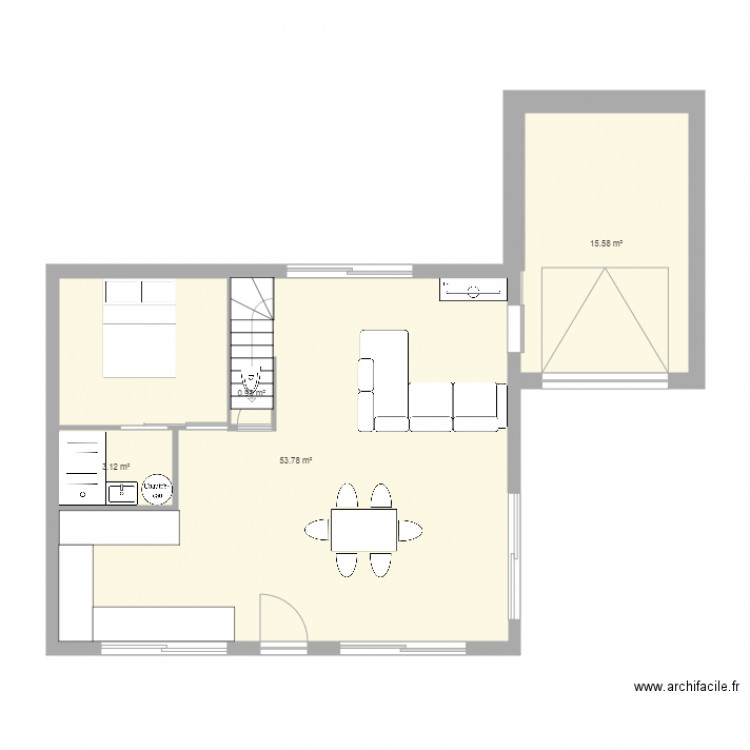 Maison plan 5 pi ces 68 m2 dessin par p - Plan de maison 2 pieces ...