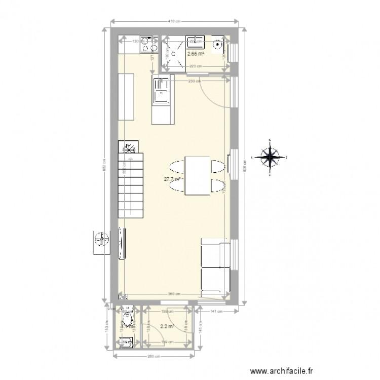 la maison basque meubles et cotations - Plan 4 pièces 34 m2 dessiné ...