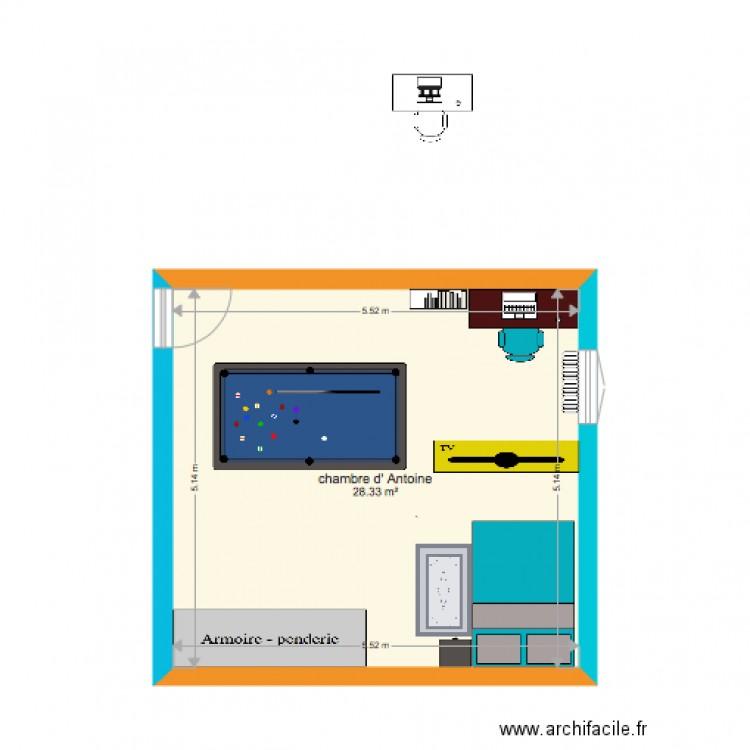 ma chambre moi plan 1 pi ce 28 m2 dessin par anto360. Black Bedroom Furniture Sets. Home Design Ideas