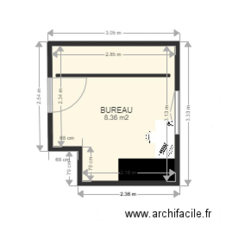 Bureau plan 1 pi ce 8 m2 dessin par kaprica for Nombre de m2 par personne bureau