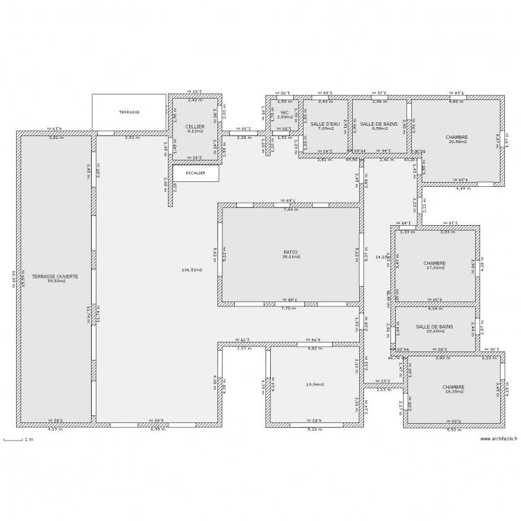 Maison tunisie patio plan 13 pi ces 371 m2 dessin par for Plan maison patio