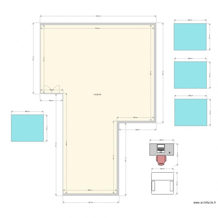 Bureau cpf plan 1 pi ce 114 m2 dessin par agrebu for Nombre de m2 par personne bureau
