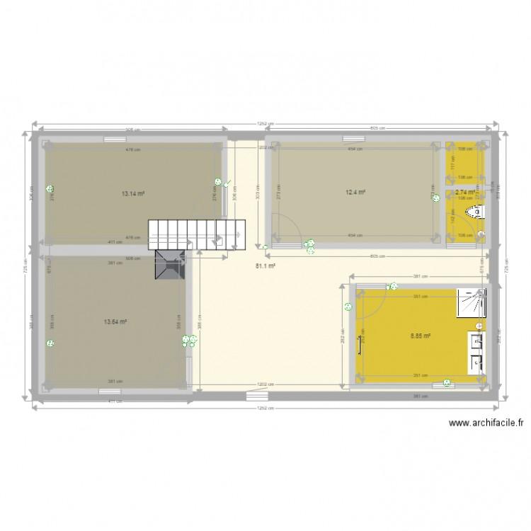Amenagement etage maison plan 6 pi ces 132 m2 dessin par dadou40 - Consommation electrique moyenne maison 140 m2 ...