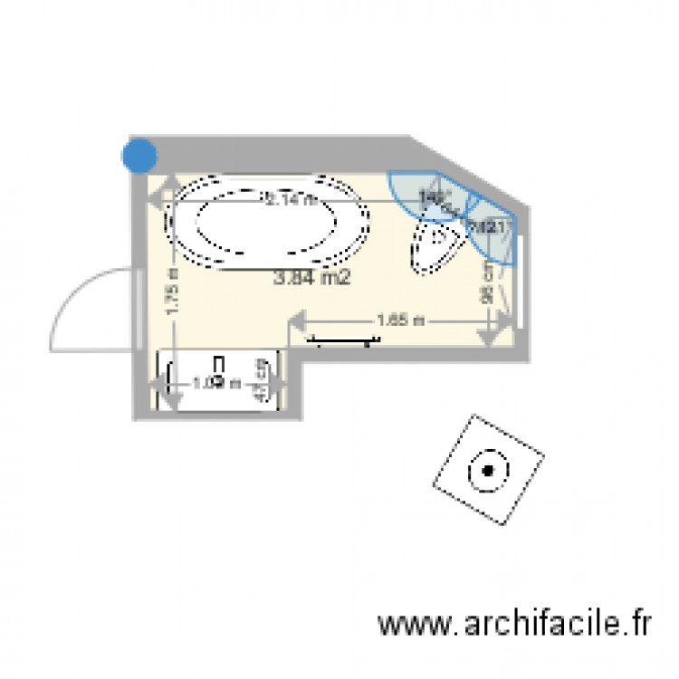 Salle de bain julie plan 1 pi ce 4 m2 dessin par gloire01 for Salle de bain 4 m2