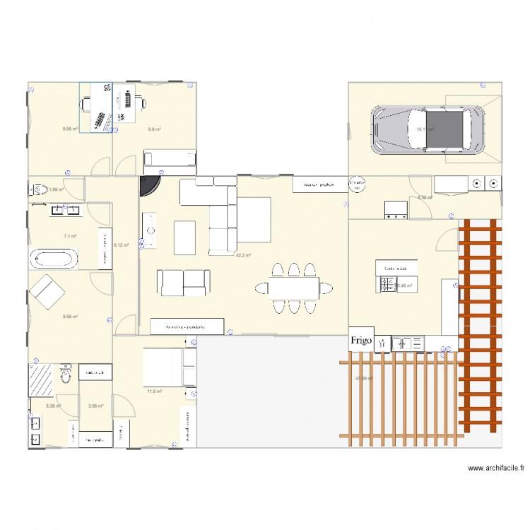 Maison plan 14 pi ces 200 m2 dessin par exolus for Cout construction maison 200 m2