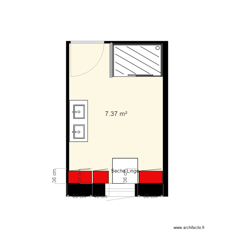 salle de bain plan 1 pi ce 7 m2 dessin par kyf10. Black Bedroom Furniture Sets. Home Design Ideas